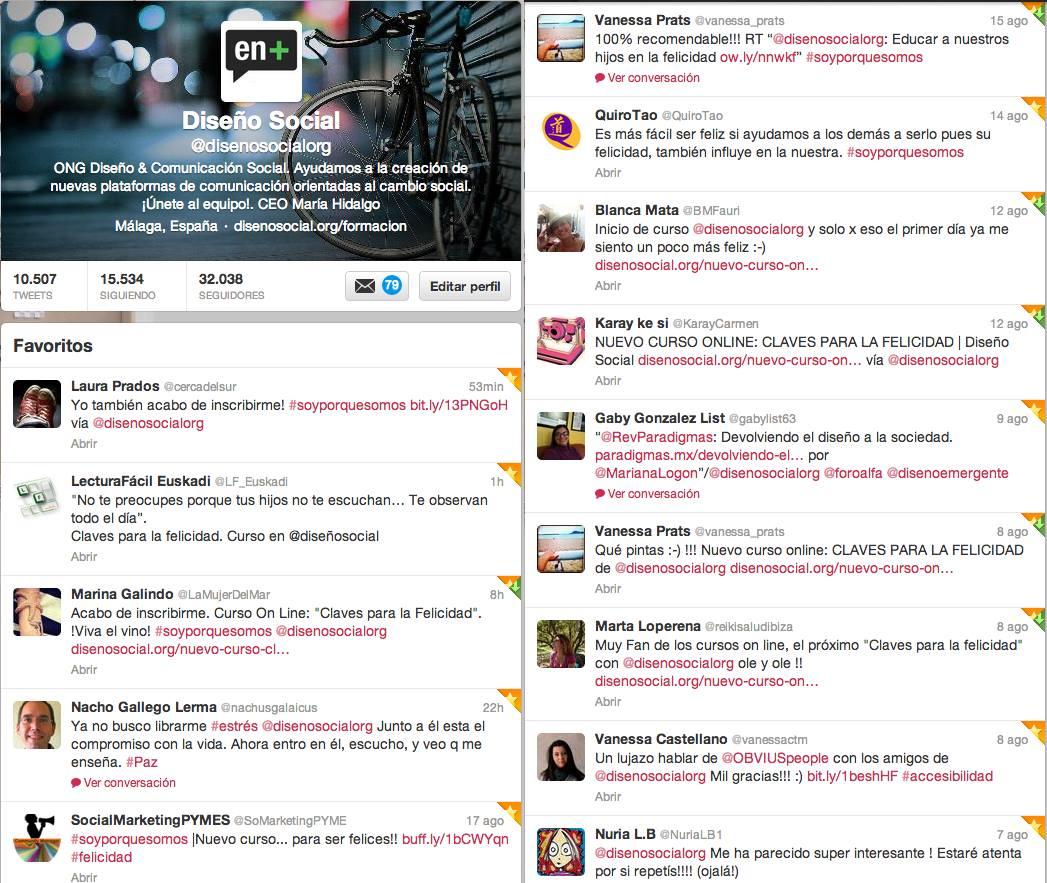 ejemplos repercusión twitter >> ELIGE TU MÓDULO: CLAVES PARA LA FELICIDAD%disenosocial