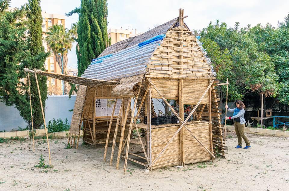 AgroChambao en La Noria Málaga - prototipo de semillero y espacio de sombra autoconstruido en caña.